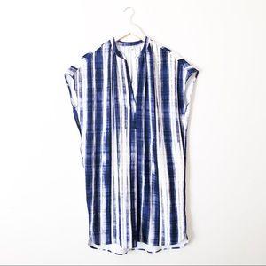 Vince Printed Split Neck Tunic Dress